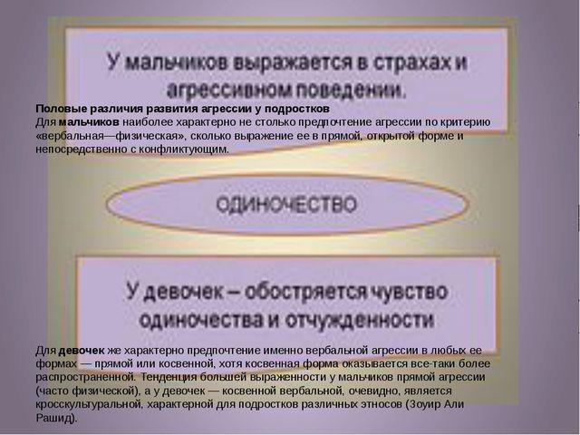 П Половые различия развития агрессии у подростков Длямальчиковнаиболее хар...