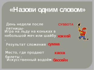 «Назови одним словом» День недели после пятницы- СУББОТА Игра на льду на конь