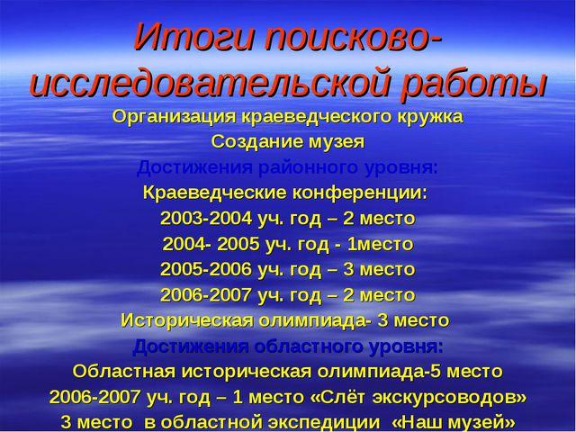 Итоги поисково-исследовательской работы Организация краеведческого кружка Соз...