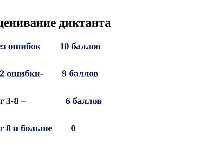 Оценивание диктанта Без ошибок 10 баллов 1-2 ошибки- 9 баллов От 3-8 – 6 балл...
