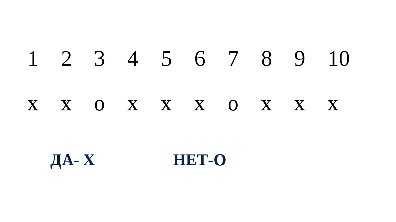ДА- Х НЕТ-О 1 2 3 4 5 6 7 8 9 10 х х о х х х о х х х