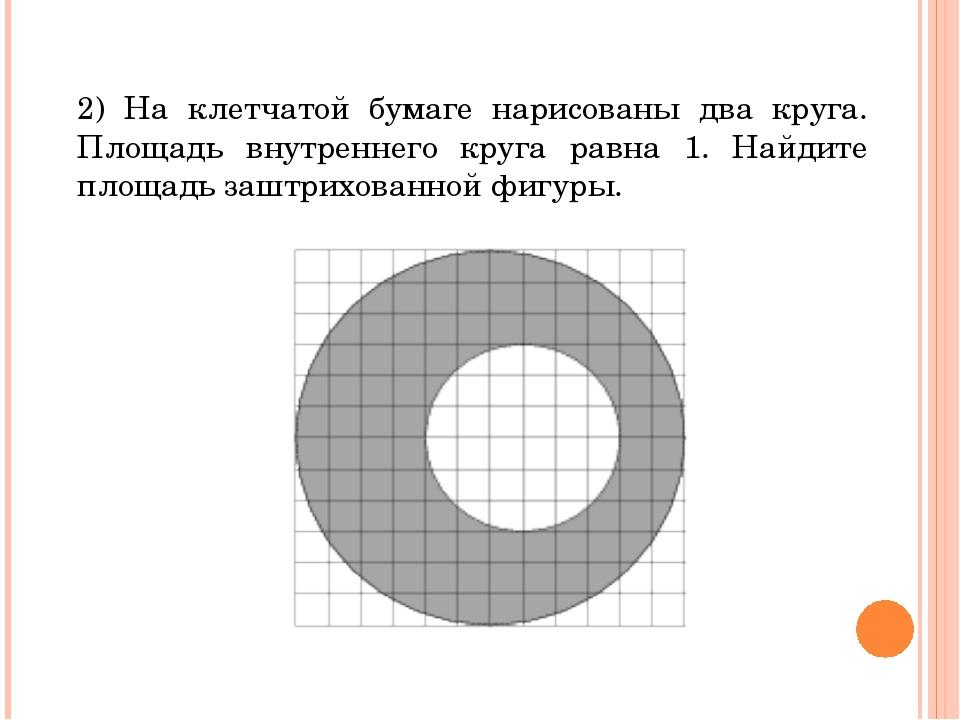 2) На клетчатой бумаге нарисованы два круга. Площадь внутреннего круга равна...