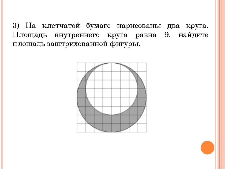 3) На клетчатой бумаге нарисованы два круга. Площадь внутреннего круга равна...