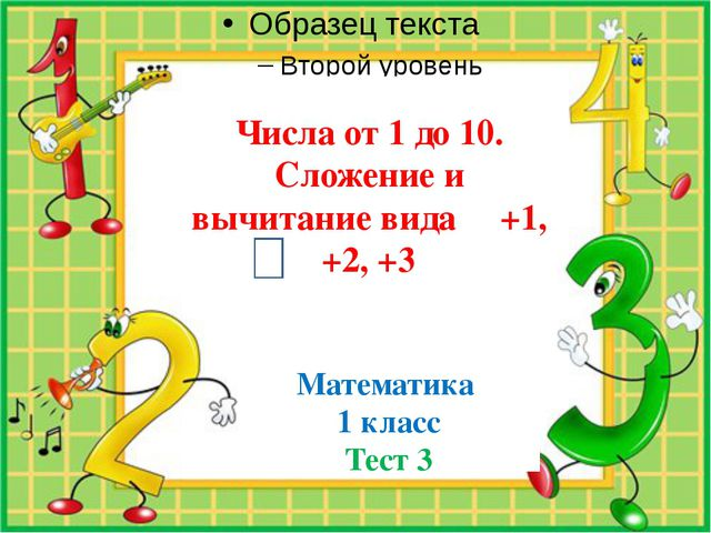 Числа от 1 до 10. Сложение и вычитание вида +1, +2, +3 Математика 1 класс Те...