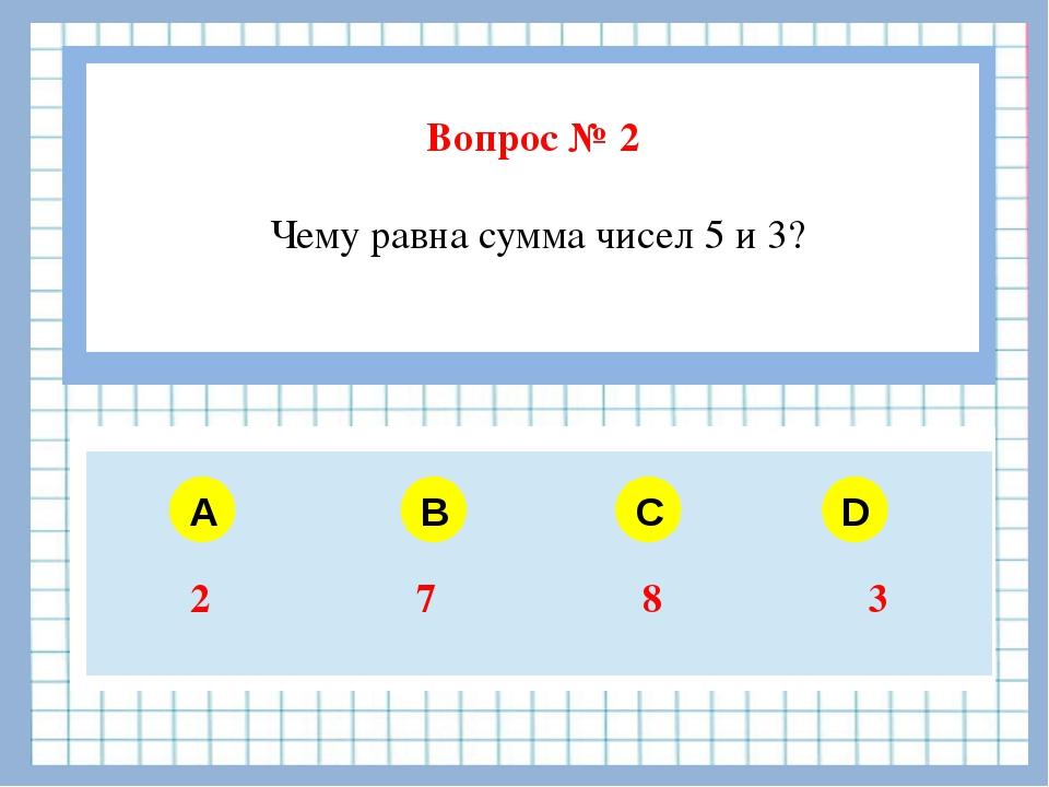 Вопрос № 2 Чему равна сумма чисел 5 и 3? A B C D 2 7 8 3