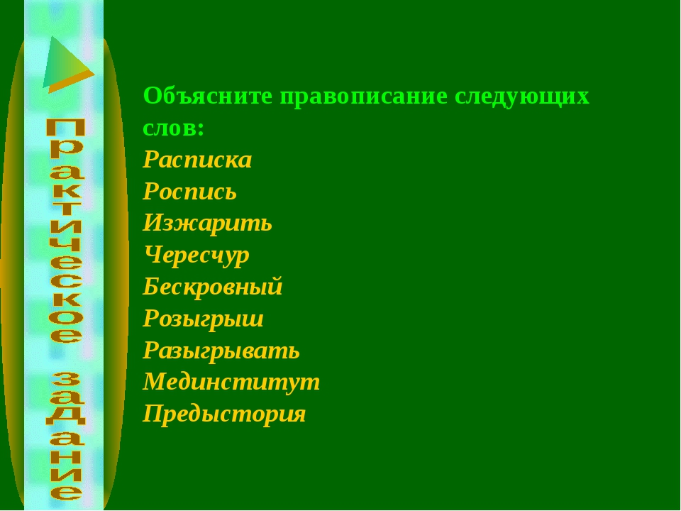 Объясните правописание следующих слов: Расписка Роспись Изжарить Чересчур Бес...