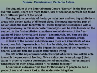 Duman - Entertainment Center in Astana 	The Aquarium of the Entertainment Cen