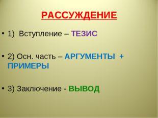 РАССУЖДЕНИЕ 1) Вступление – ТЕЗИС 2) Осн. часть – АРГУМЕНТЫ + ПРИМЕРЫ 3) Закл