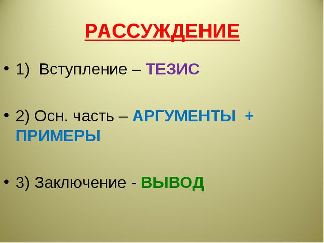 РАССУЖДЕНИЕ 1) Вступление – ТЕЗИС 2) Осн. часть – АРГУМЕНТЫ + ПРИМЕРЫ 3) Закл...