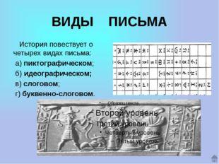 ВИДЫ ПИСЬМА История повествует о четырех видах письма: а) пиктографическом; б