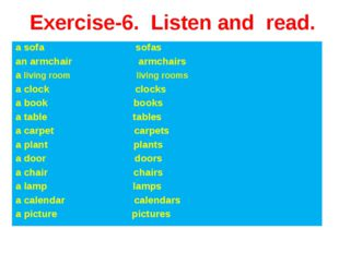 Exercise-6. Listen and read. a sofa sofas an armchair armchairs a living room