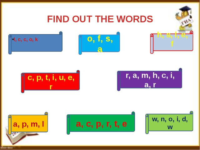 FIND OUT THE WORDS l, c, c, o, k a, p, m, l a, c, p, r, t, e r, a, m, h, c,...