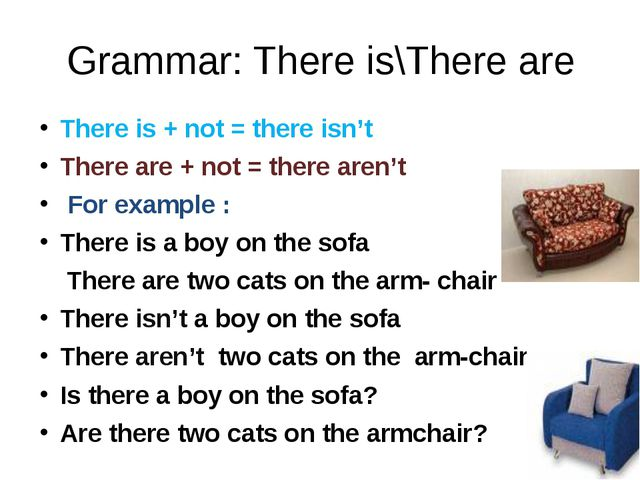 Grammar: There is\There are There is + not = there isn't There are + not = th...