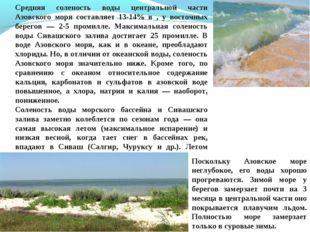 Средняя соленость воды центральной части Азовского моря составляет 13-14% в ,