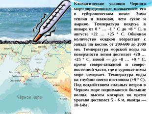 Климатические условия Черного моряопределяются положением его в субтропическ