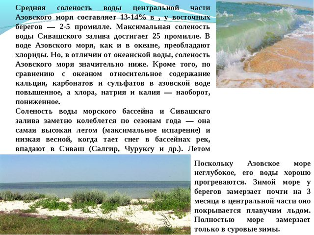 Средняя соленость воды центральной части Азовского моря составляет 13-14% в ,...