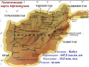 Политическая карта Афганистана Столица – Кабул Территория – 647,5 тыс.кв. км