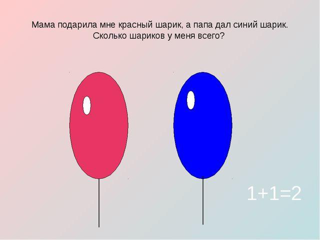 Мама подарила мне красный шарик, а папа дал синий шарик. Сколько шариков у ме...
