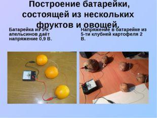 Построение батарейки, состоящей из нескольких фруктов и овощей. Батарейка из