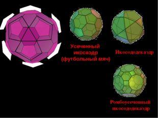 Срезав вершины икосаэдра, получим новые грани пятиугольники, а грани икосаэдр