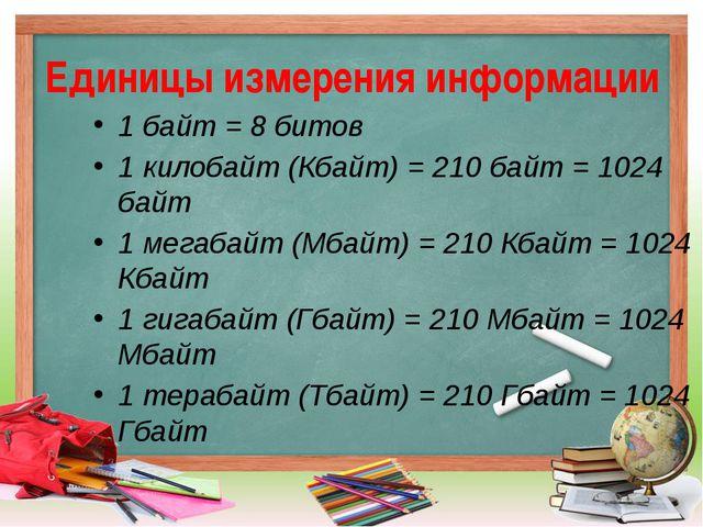 Единицы измерения информации 1 байт = 8 битов 1 килобайт (Кбайт) = 210байт =...