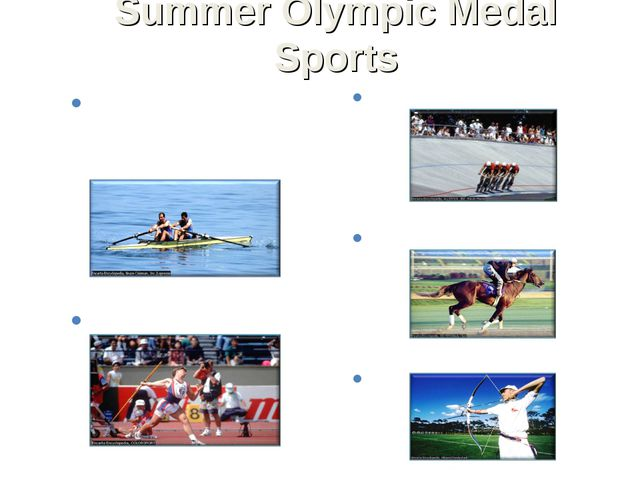 Summer Olympic Medal Sports Aquatics: diving, swimming, synchronized swimming...