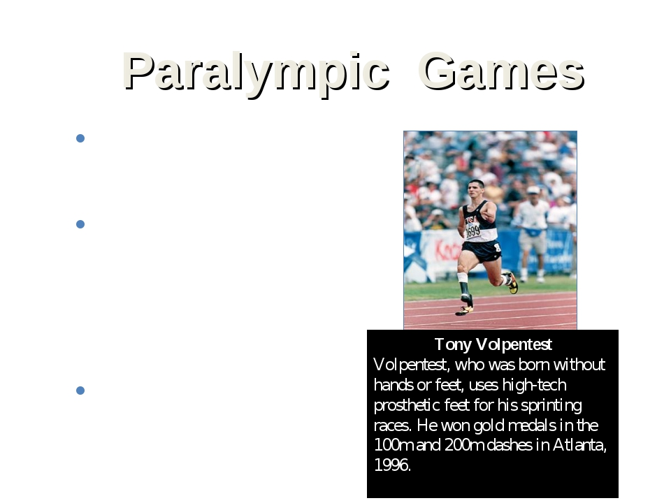 Paralympic Games Paralympic Games, athletic competition for people with disab...