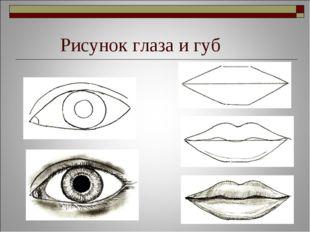 Рисунок глаза и губ