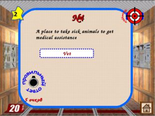 №4 Vet 5 очков A place to take sick animals to get medical assistance