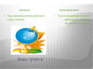 Виды проекта монопроект Коллективный проект В коллективном проекте принимает