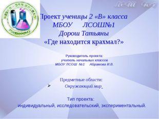 Руководитель проекта: учитель начальных классов МБОУ ЛСОШ №1 Абрамова И.В. П