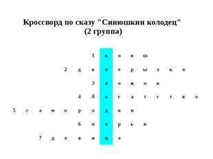 """Кроссворд по сказу """"Синюшкинколодец"""" (2 группа)"""