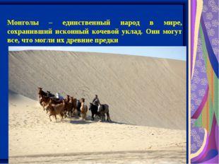 Монголы – единственный народ в мире, сохранивший исконный кочевой уклад. Они