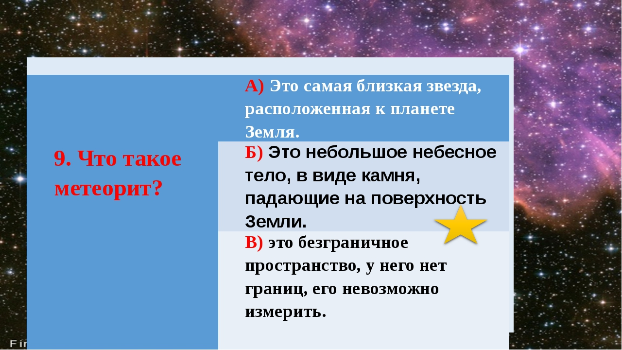 9. Чтотакоеметеорит? А)Это самая близкая звезда, расположенная к планете Зем...