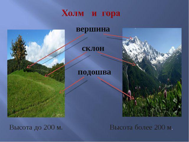 вершина склон подошва Высота до 200 м. Высота более 200 м.