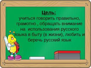 Цель: учиться говорить правильно, грамотно , обращать внимание на использова