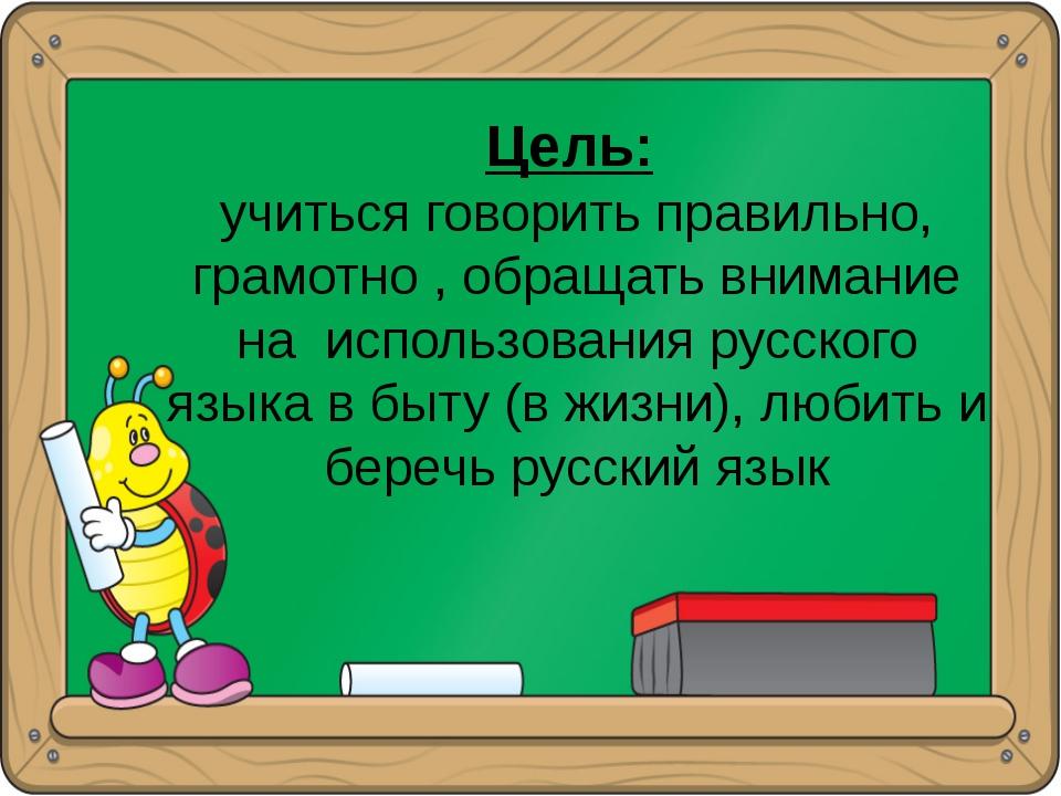 Цель: учиться говорить правильно, грамотно , обращать внимание на использова...