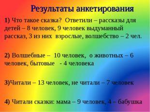 Результаты анкетирования 1) Что такое сказка? Ответили – рассказы для детей –