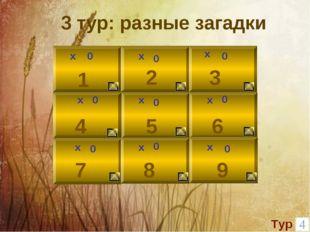 х 0 1 2 3 0 х 9 8 6 5 4 7 х х х х х х х 0 0 0 0 0 0 0 3 тур: разные загадки