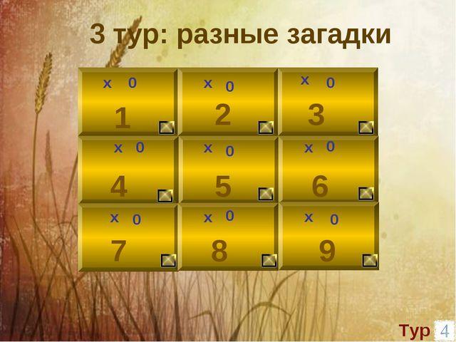 х 0 1 2 3 0 х 9 8 6 5 4 7 х х х х х х х 0 0 0 0 0 0 0 3 тур: разные загадки...