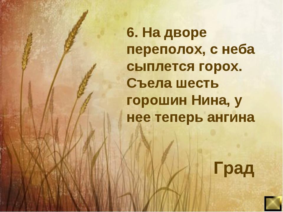 6. На дворе переполох, с неба сыплется горох. Съела шесть горошин Нина, у нее...