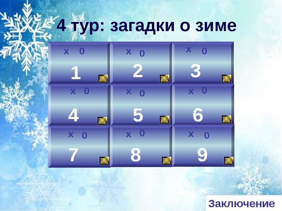 х 0 1 2 3 0 х 9 8 6 5 4 7 х х х х х х х 0 0 0 0 0 0 0 4 тур: загадки о зиме З...