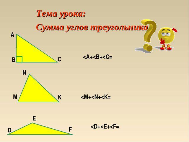 Тема урока: Сумма углов треугольника А B C N М K D E F