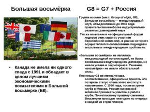 Большая восьмёрка G8 = G7 + Россия Канада не имела ни одного спада с 1991 и о