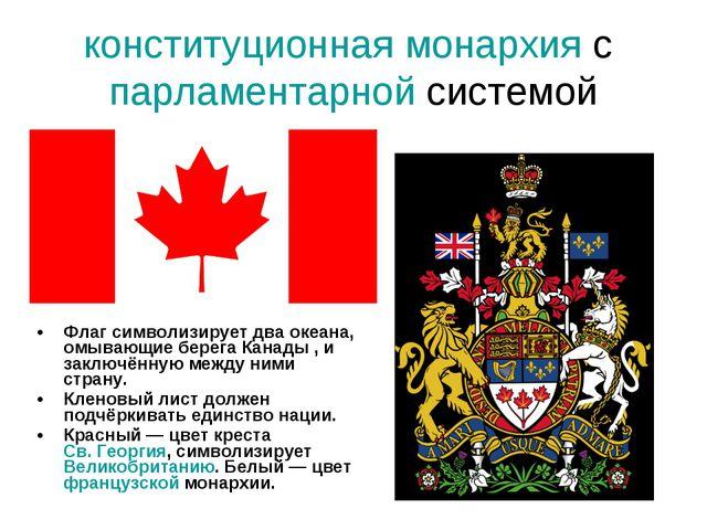 конституционная монархия с парламентарной системой Флаг символизирует два оке...