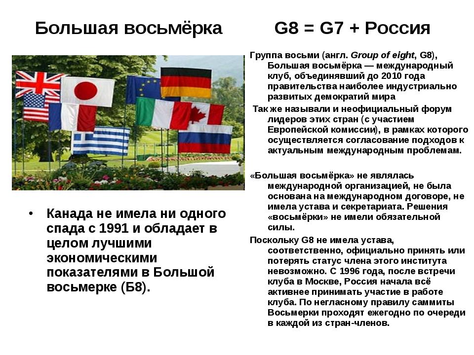 Большая восьмёрка G8 = G7 + Россия Канада не имела ни одного спада с 1991 и о...