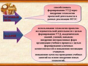 * способствовать формированию УУД через внедрение технологии проектной деятел
