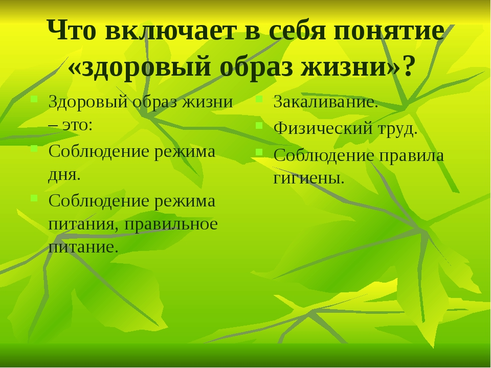 Что включает в себя понятие «здоровый образ жизни»? Здоровый образ жизни – эт...