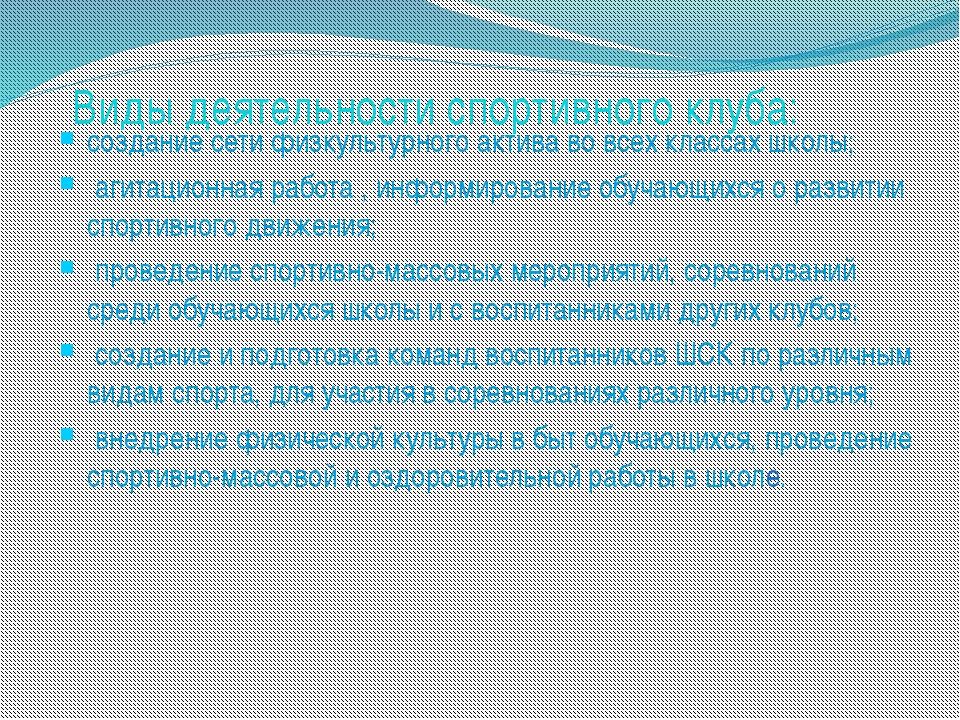 Виды деятельности спортивного клуба: создание сети физкультурного актива во в...