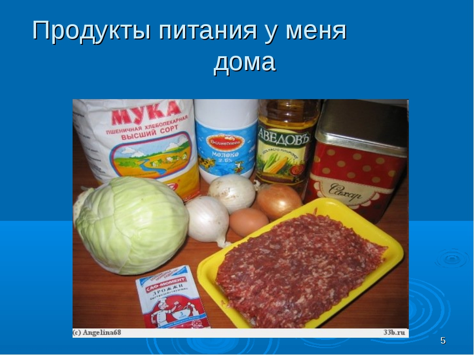 * Продукты питания у меня дома
